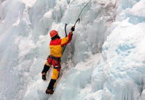An ice climber in Ouray Ice Park