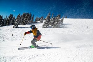 A man skiing in Vail, Colorado
