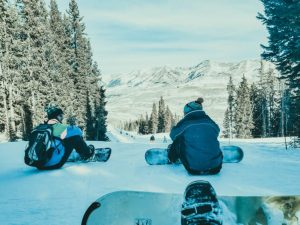 Snowboarders at Crested Butte Mountain Resort