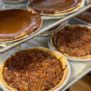 Some of the best pies in Denver in a case at Trompeau