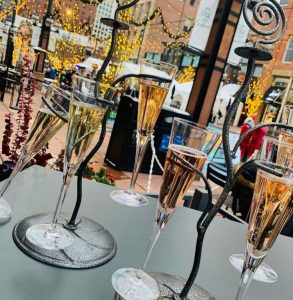 A champagne flight at one of the most romantic restaurants in Denver, Corridor 44