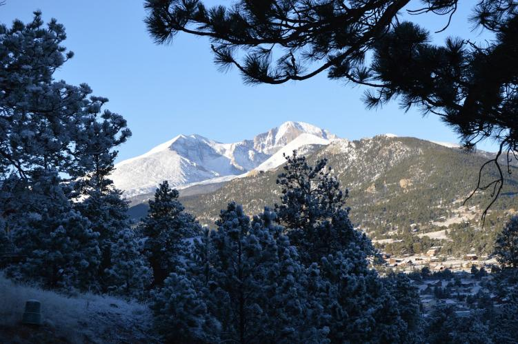 A view of Longs Peak, one of many 14ers in Colorado, through trees