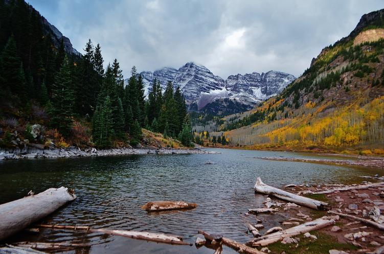 A lake in front of Maroon Peak, one of 58 14ers in Colorado