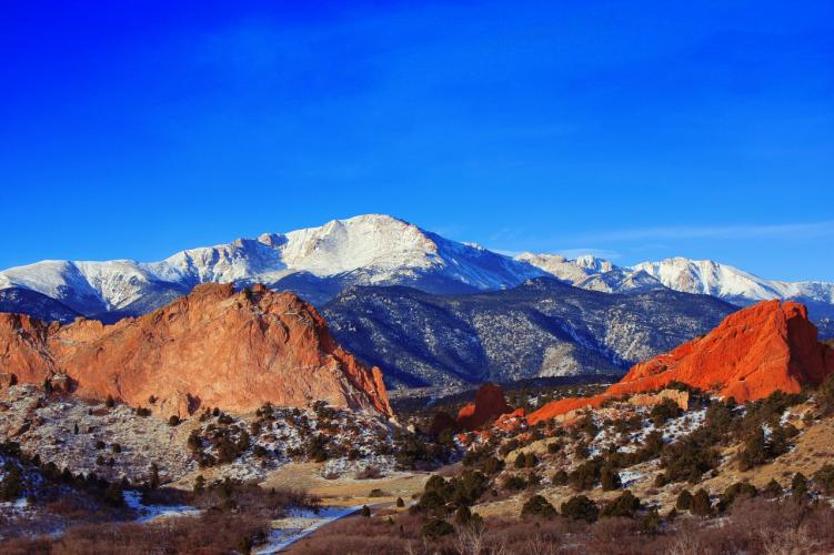 Garden of the Gods and Pikes Peak, one of the 14ers in Colorado