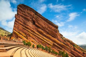 Red Rocks Amphitheatre with a blue sky in the background